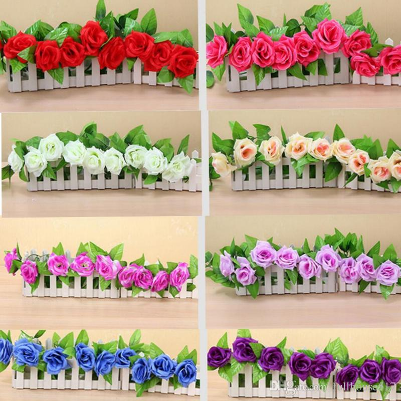 245cm 9 pieces Fake Rose Vine Flowers Plants Artificial hanging garland flowers Home Wedding Party Garden Craft Art Decor Decorative Flowers