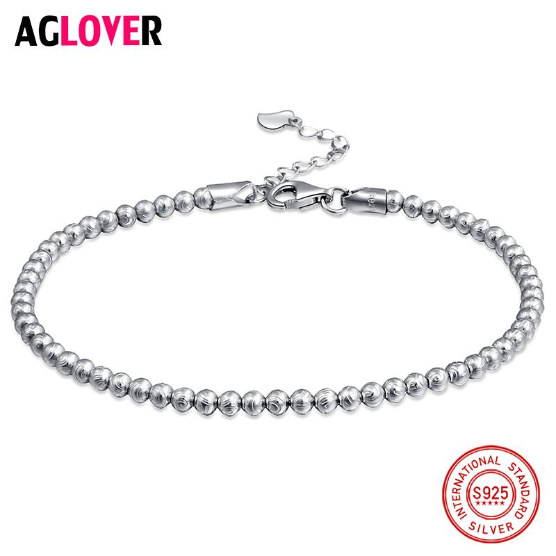 AGLOVER Classic Simple Small Round Ball Bead Bracelet 925 Sterling Silver For Women Contracted Fashion Jewelry Gift S18101308
