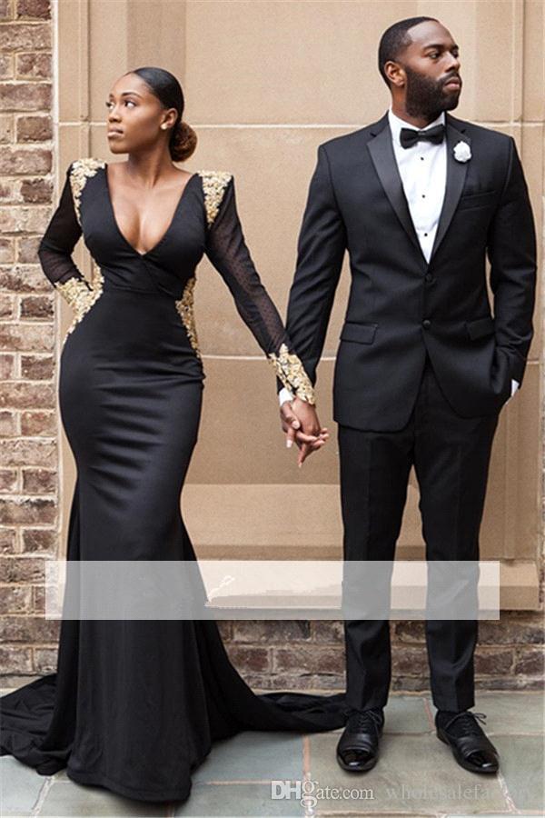 Beyonce Sexy sirena negra Vestidos de baile largos 2018 Cuello en V Mangas largas Sin respaldo de encaje apliques con cuentas Shinny fiesta de noche vestidos BA8839