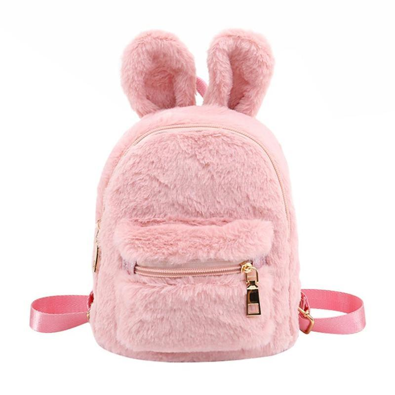 Fashion Fur Women Backpacks Cute Rabbit Ears Winter Mini Backpacks Kids  Girls School Shoulder Bags Solid Soft Faux Fur Backpack Batman Backpack  Running ... 231fd9284db16