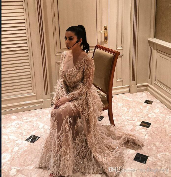 Evening dress Yousef aljasmi Cap sleeve V-Neck Beaded Feather orstrich Mermaid Long dress kim kardashian
