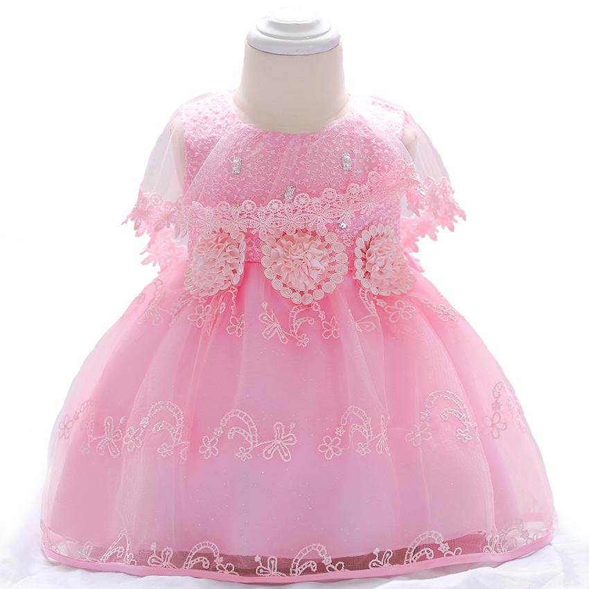 fc7854d928299 Cute 2018 Newborn Clothes Gorgeous Flower Girl Dresses Baby 1st 2nd 3rd 1/2  12 Month 1 Year Birthday Sleeveless Christening Dres