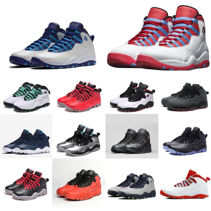 low priced 918b1 5e233 Mens retro 10s basketball shoes Powder Blue Bobcat Chicago Charlotte NYC  New York Rio Paris j10 aj10 Jumpman 10 X sneakers boots with box