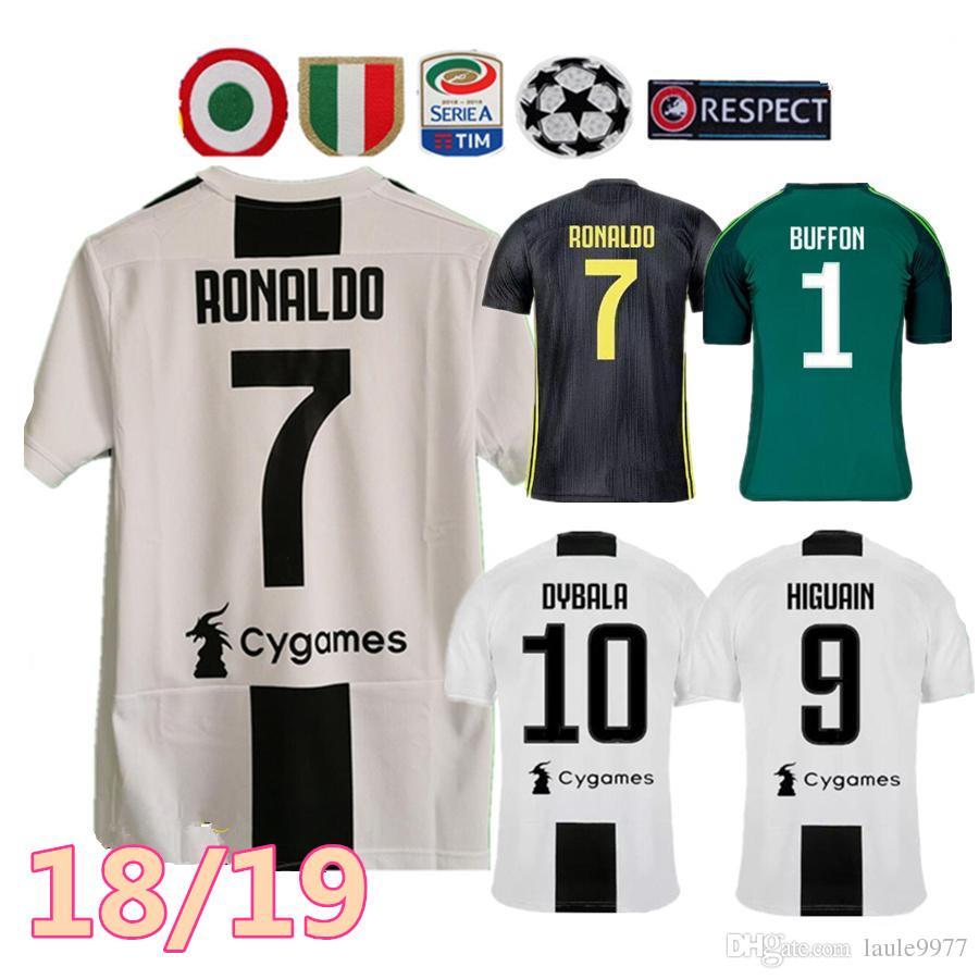 Compre 18 19 Juventus RONALDO DYBALA HIGUAIN POGBA Camisa De Futebol 2018  2019 Juve CUADRADO MARCHISIO MANDZUKIC CHIELLINI BUFFON Homem E Mulheres  Camisa De ... ac7fe7ccc6e62