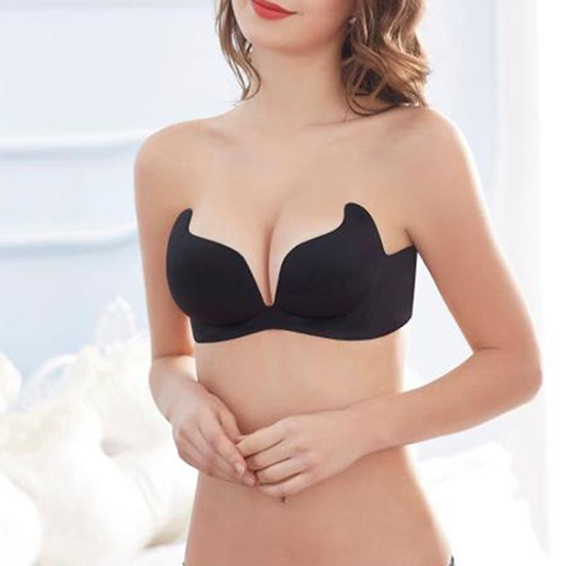 Una sola pieza Push Up invisible Sujetador sin tirantes Sin anillo de acero Sujetador ajustable Recolect Bralette Backless Self-Adhesive Mujer Ropa interior