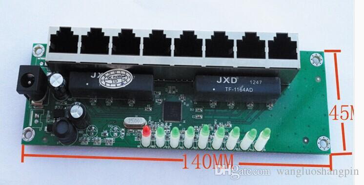 8 port Ethernet switch module of multimedia information box, wide voltage design 7.5V-12V