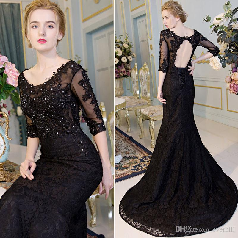 Elegant Lace Black Mermaid Sequin Evening Dresses With Half Sleeves ... 76d12758d5c6