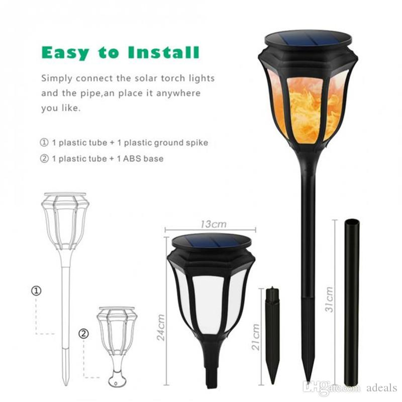 Solar Lights,Waterproof Flickering Flames Torches Lights, 96 led Outdoor Landscape Torch Light,Dancing Flame Lighting in a pack