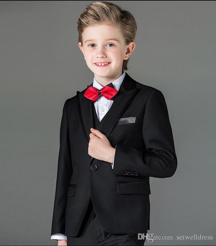 Three Pieces Black Boy Tuxedos Peak Lapel Children Suit 2018 New Cheap Kid Wedding Suit Prom Suits Jacket+Vest+Pants+Bow Tie