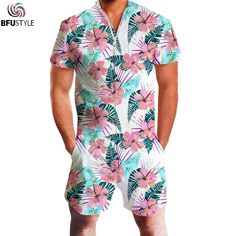 3648628194 2019 Floral Printed Summer Mens 3D Hip Hip Rompers Playsuit Short Sleeve  Jumpsuit Casual Romper Zipper Short Pants Mens Playsuit From Caeley