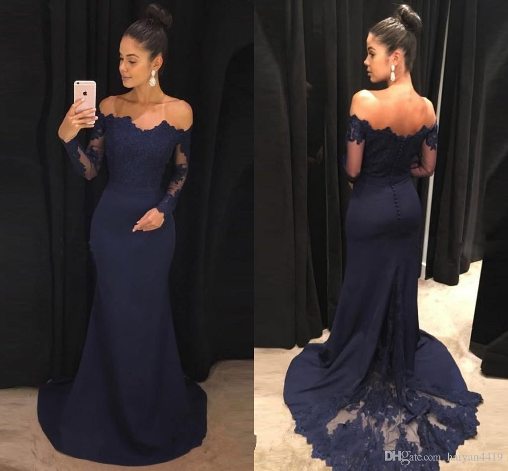 dacda843f3 2018 Hot Navy Blue Mermaid Prom Dresses Off Shoulder Lace Applique Sheer  Long Sleeves Satin Backless Sweep Train Evening Cheap Party Gowns