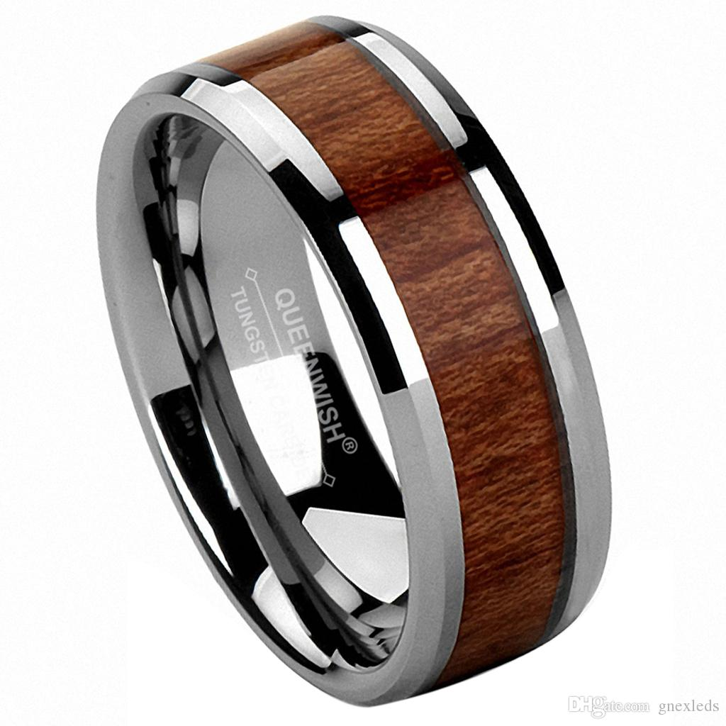 2019 Mens Wedding Bands 8mm Vintage Hawaiian Koa Wood Inlay Silver