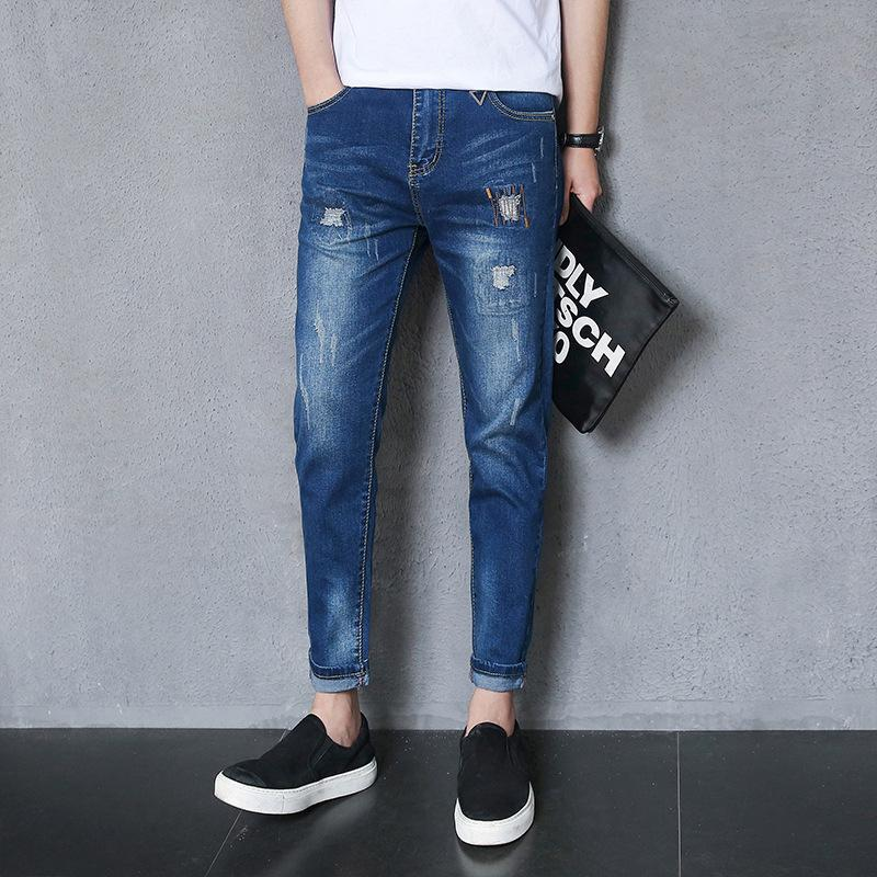 8a939aab728c 2019 Spring Xia Xinkuan Wash Do Used Patch Worn Men S Rock Revival Mens  Ripped Skinny Jeans Male Elastic Force Pants Bound Feet For From  Wanziqianhong