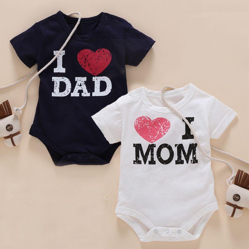 c455c22f6 2019 I Love Mom And Dad Series Cute Baby Clothing Summer Newborn ...