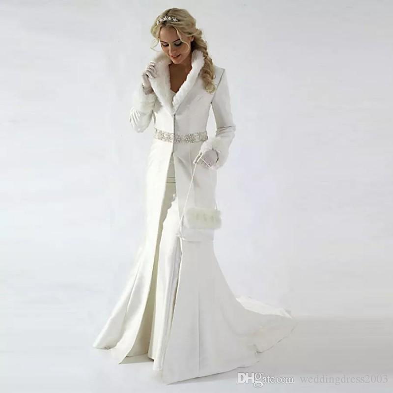 compre 2018 vintage vestido de novia nupcial abrigo de invierno de