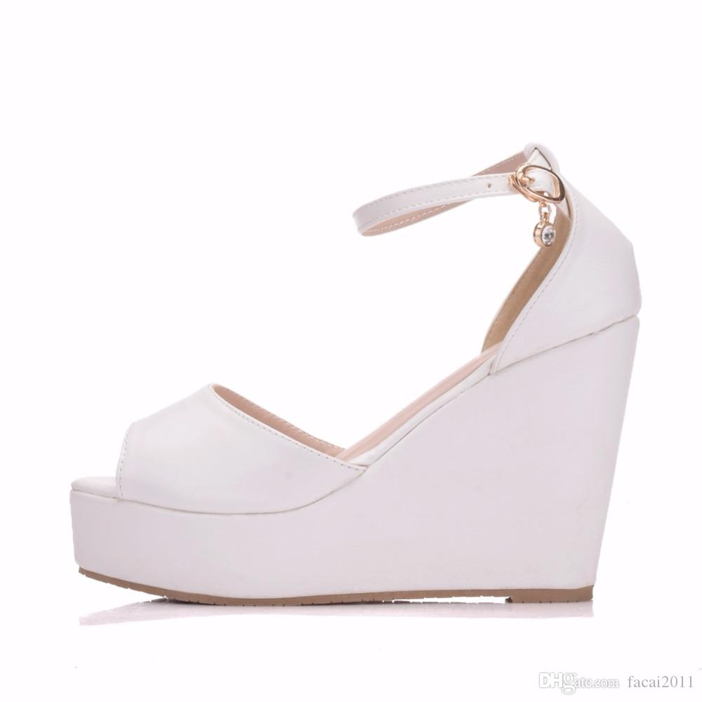 Superior Bohemian Wedges Women Sandals For Ladies Shoes High Platform Open Toe White Pu High Heel Pumps Wedges