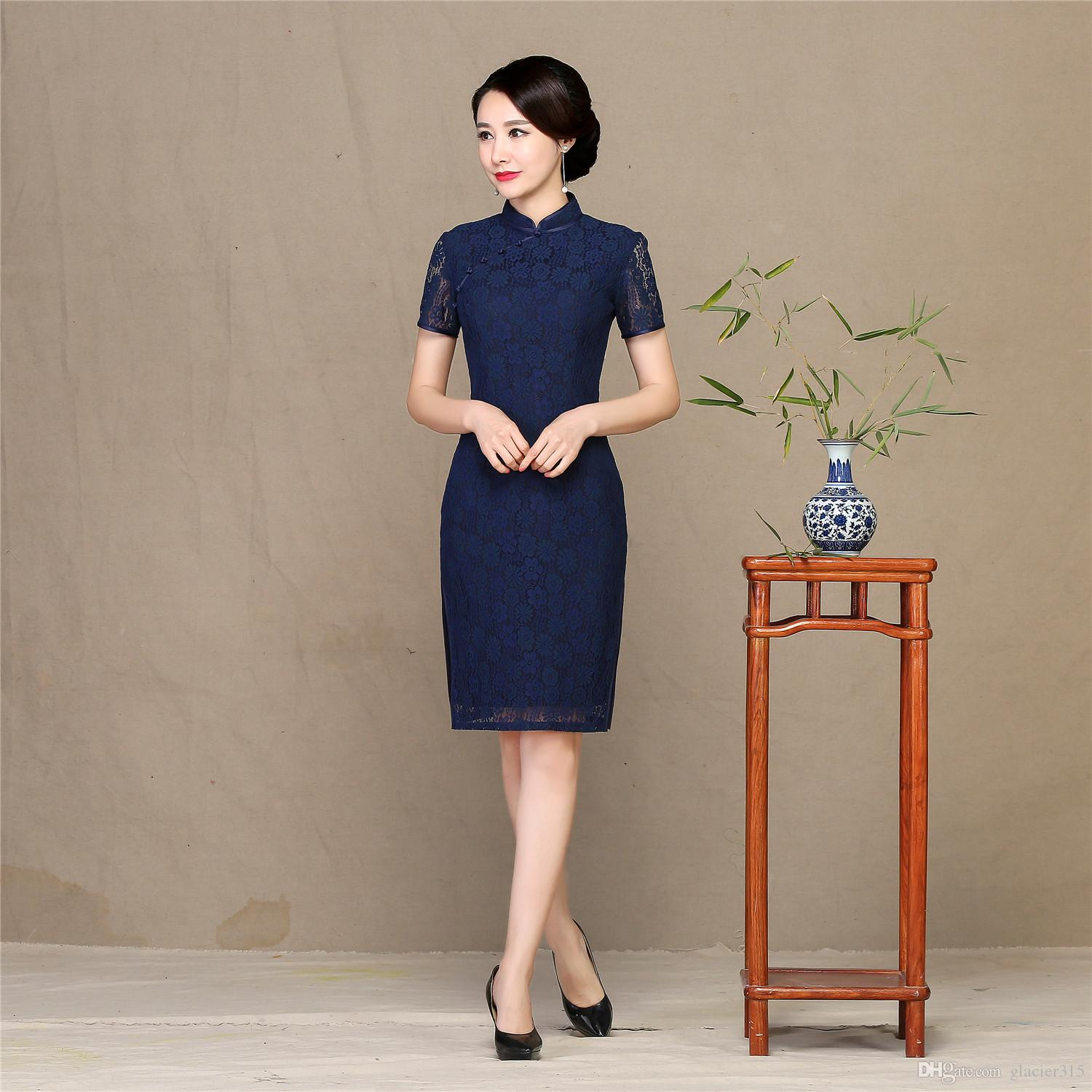 Shanghai Story 2018 Chinese Style Dress Knee Length Qipao Chinese traditional dress Short Sleeve Lace Cheongsam dress for Women