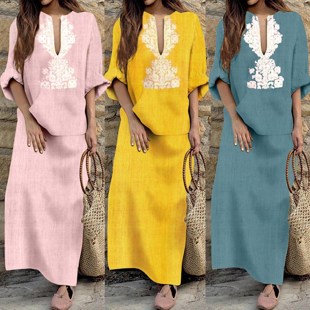 26857eac7e693 Women Dress Long Sleeve Boho Cotton Linen Loose Long Maxi Dress Kaftan V  neck Summer Dress Size S-XXL