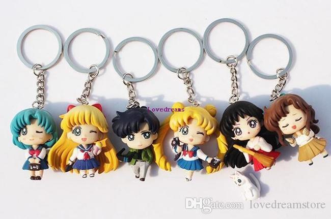 Q Verison Sailor Moon Keychain Pendant Tsukino Usagi Sailor Mars Jupiter Venus Mercury Tuxedo Figure Toys PVC Dolls