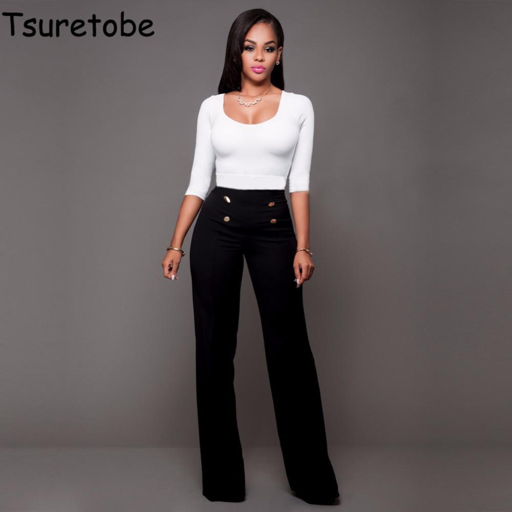 Großhandel Tsuretobe 2017 Hohe Taille Flare Hosen Plus Größe Frauen Hosen  Weibliche Büro Dame Casual Breite Beinhosen Stretch Lange Hose S18101606  Von ... ab3703de82