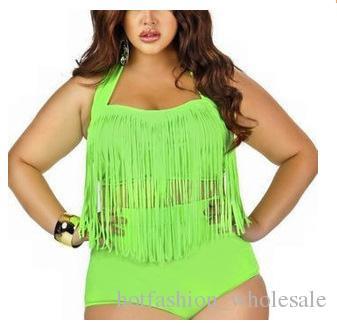 1 مجموعة زائد حجم ملابس السباحة هامش الشرابة بيكيني عالية الخصر مثير النساء المايوه مبطن بوهو ملابس monokini ل مفلس النساء
