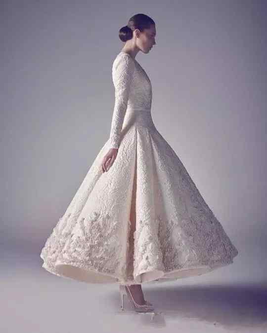 Ashi Studio Evening Prom Dresses Pure White 2019 Hot Sale Long Sleeve Deep V Neck Lace Beading Appliqued tea-length occasion dress