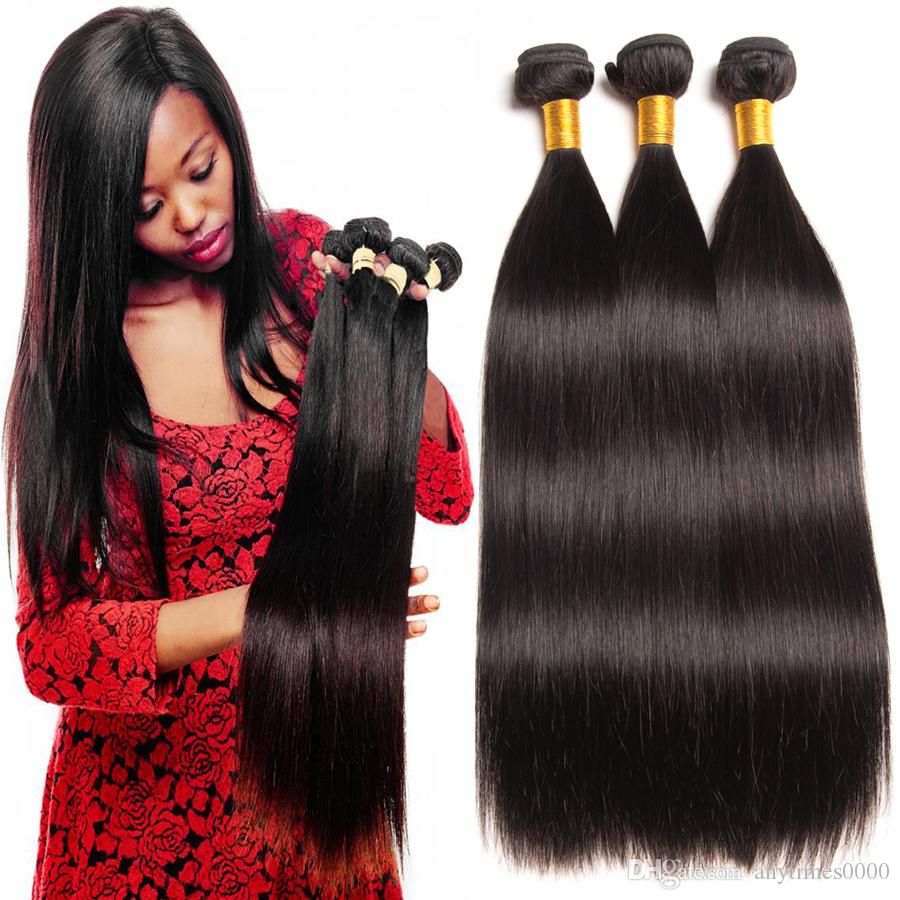 Peruvian Straight Virgin Remy Human Hair Extensions Natural Color