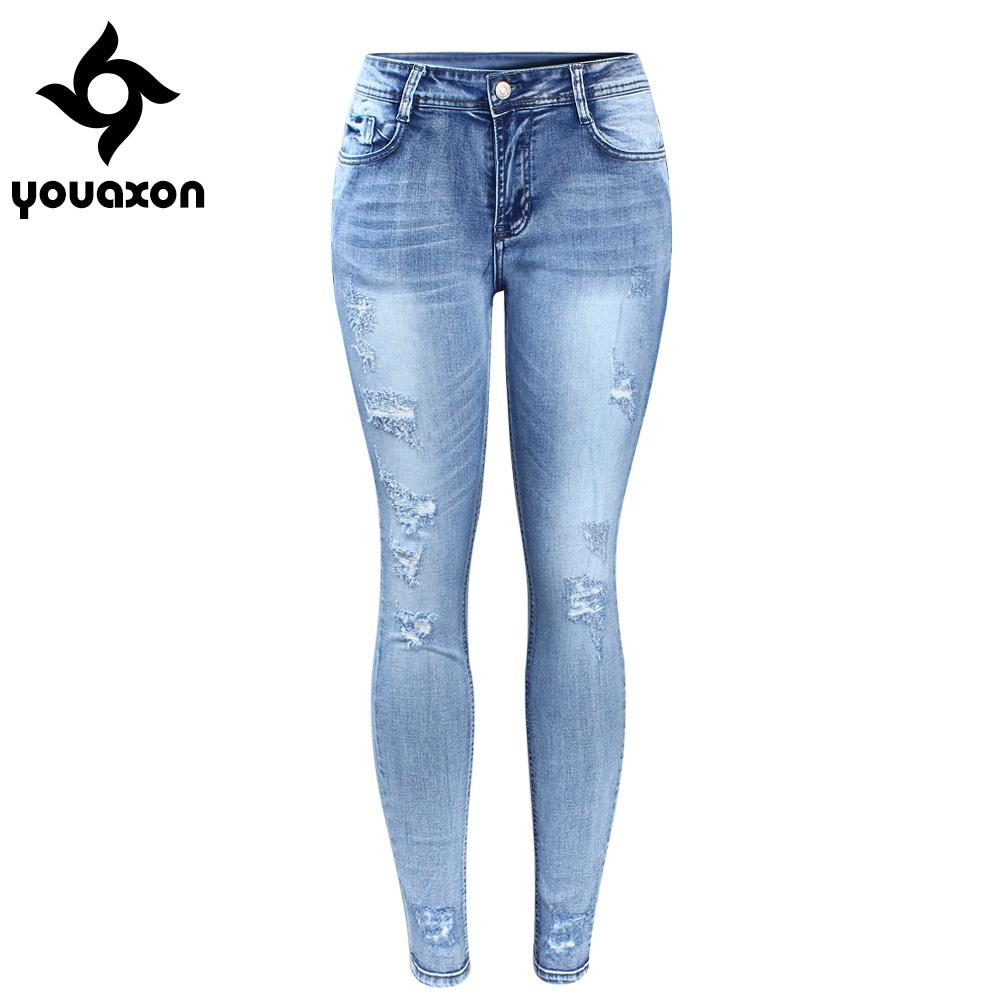 2018 2096 Youaxon Classic Distressed Jeans Women Mid Waist Stretchy