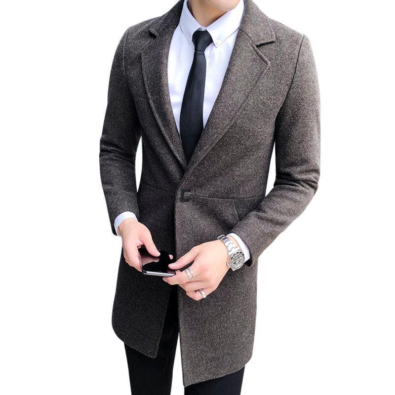 official photos 5ee17 c96ce Korean Design 2018 Winter Herren Mantel Single Button Qualität Wolle  Mischungen Lange Trenchcoat Männer Slim Fit Woolen Pea Coat