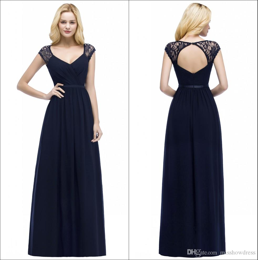 c65cadafe2c890 Cap Sleeves Chiffon Long Bridesmaid Dresses Navy Blue 2018 Lace Ruched  Hollow Back Floor Length Wedding Guest Maid Of Honor Dresses CPS865  Maternity Bridal ...