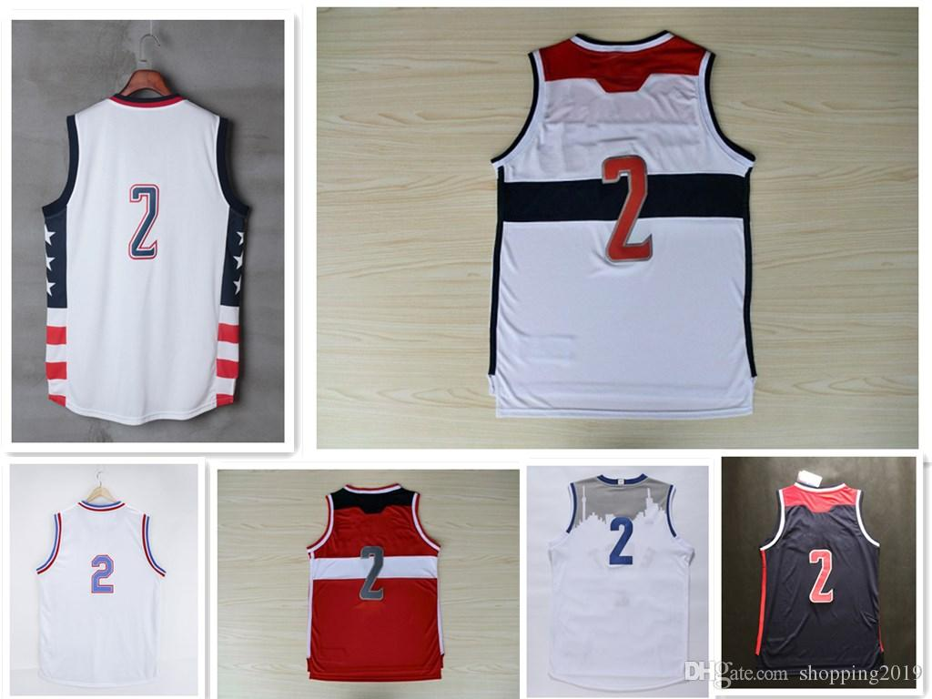 2018 HOT SALE 2 John Wall Men s Basketball Jerseys White Red Blue Mesh  Embroidery Stitched Basketball Wear Cheap Wholesale with Player Name John  Wall ... 3109216e0