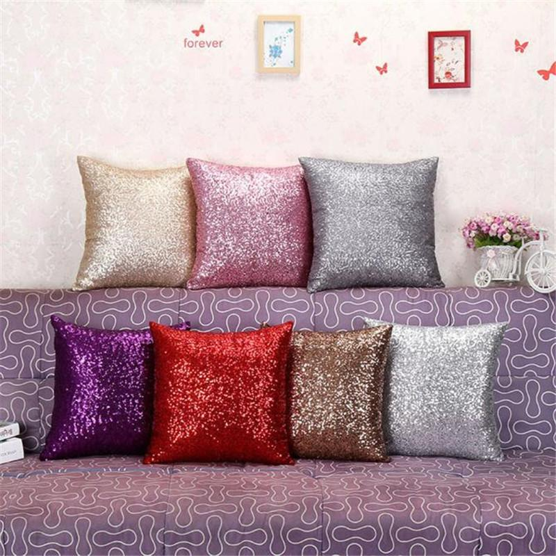solid color sequins glitter throw pillow cafe home decor cushion rh dhgate com