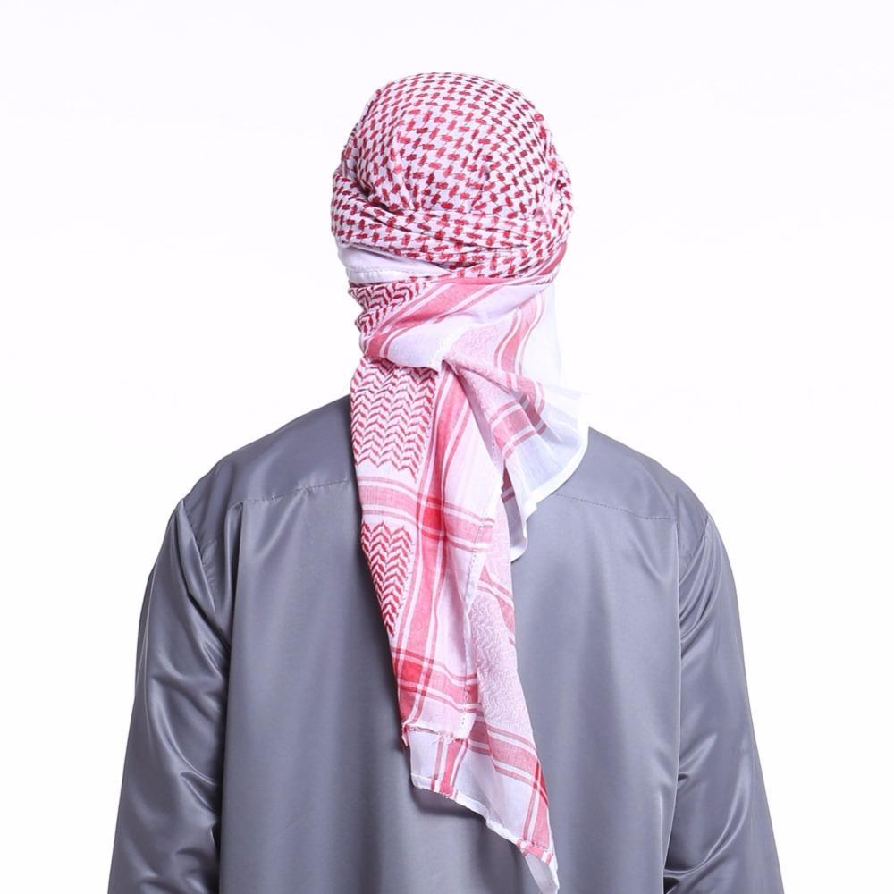 Compre Sombreros Musulmanes Para Hombres Arabia Hombre Bufanda Musulmana  Hijab Bufanda Chal Árabe Keffiyeh Bufandas Moda Turbante Sombrero Abaya  Ropa ... f833f466092