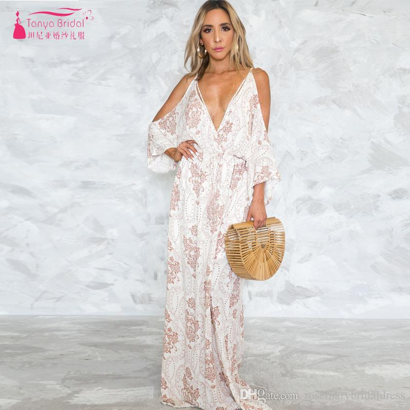 Floral Printed Bridesmaid Dresses Deep V Neck Backless Beach Boho Style Maid  Of Honor Gowns Women Formal Gowns Nightwear ZB061 Unique Bridesmaids Dresses  ... 7f2eaf8542ff