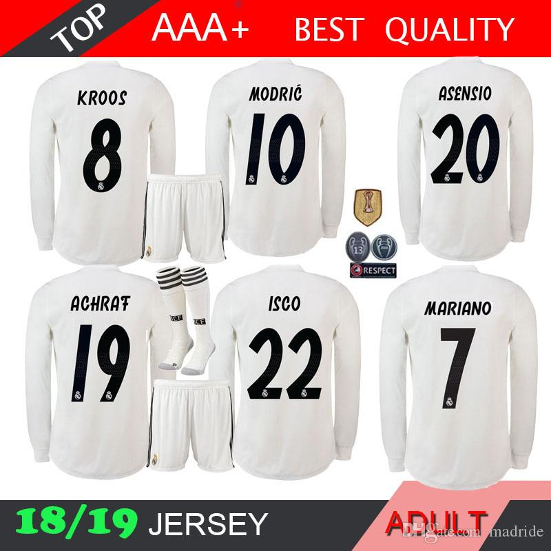 d037393e58e 2019 18 19 Real Madrid MODRIC ASENSIO LONG Sleeve Soccer Jerseys Adult  MARIANO MARCELO 2018 2019 BALE ISCO RAMOS Football Shirts Home Men Kits  From Madride, ...