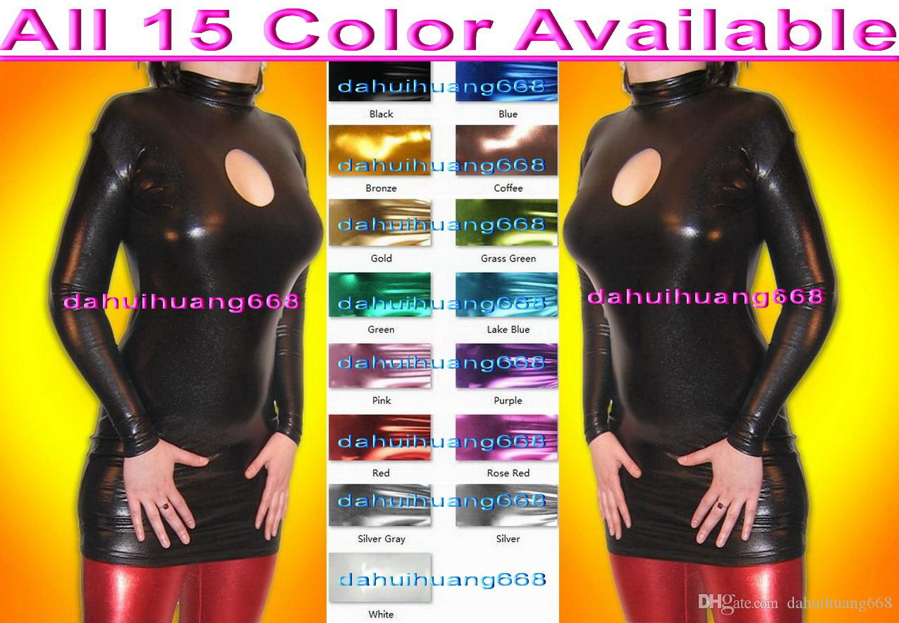 Sexy 15 Color Shiny Lycra Metallic Women Dresses Halloween Party Fancy Dress Cosplay Dresses Sexy Nightclub Dress Women Party Dresses DH080
