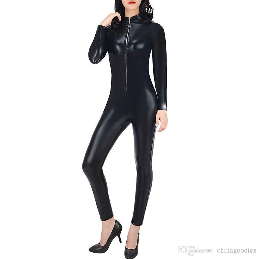 f4e9ab07ea03 Großhandel Frauen Sexy Cat Suit Halloween Kostüm Zipper Front Wet Look  Schwarz Ganzkörper Adult Overall Einteilige Outfit Von Chinagoodies