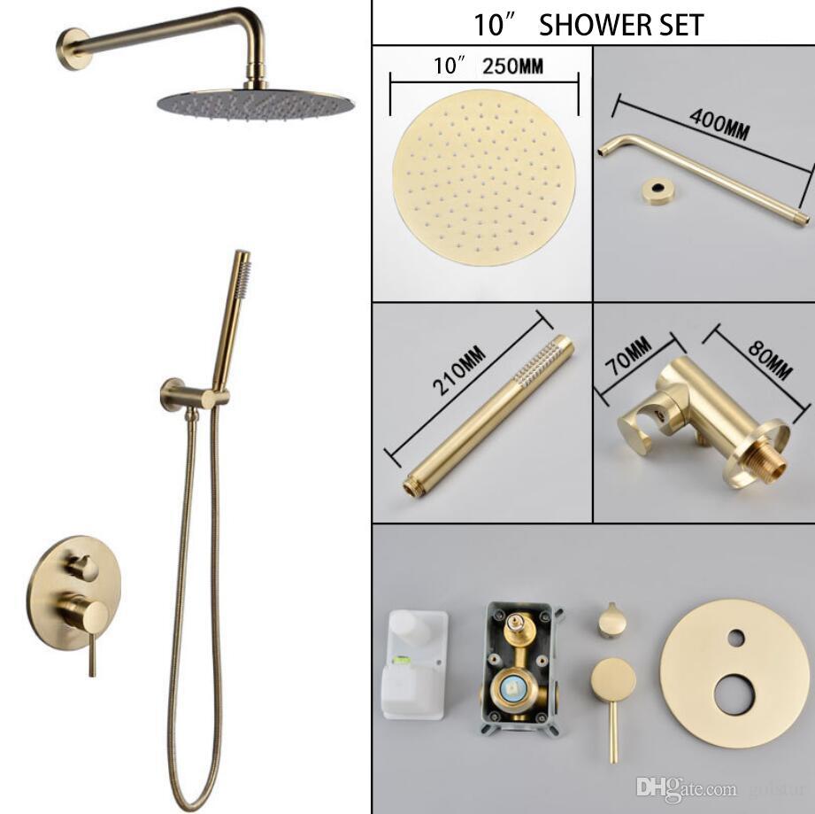 2019 matt gold round bath faucets 10 rain shower head bathroom rh dhgate com