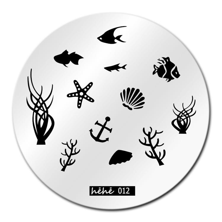Grosshandel Fisch Sea Nail Art Stamping Vorlage Bild Platte Hehe012