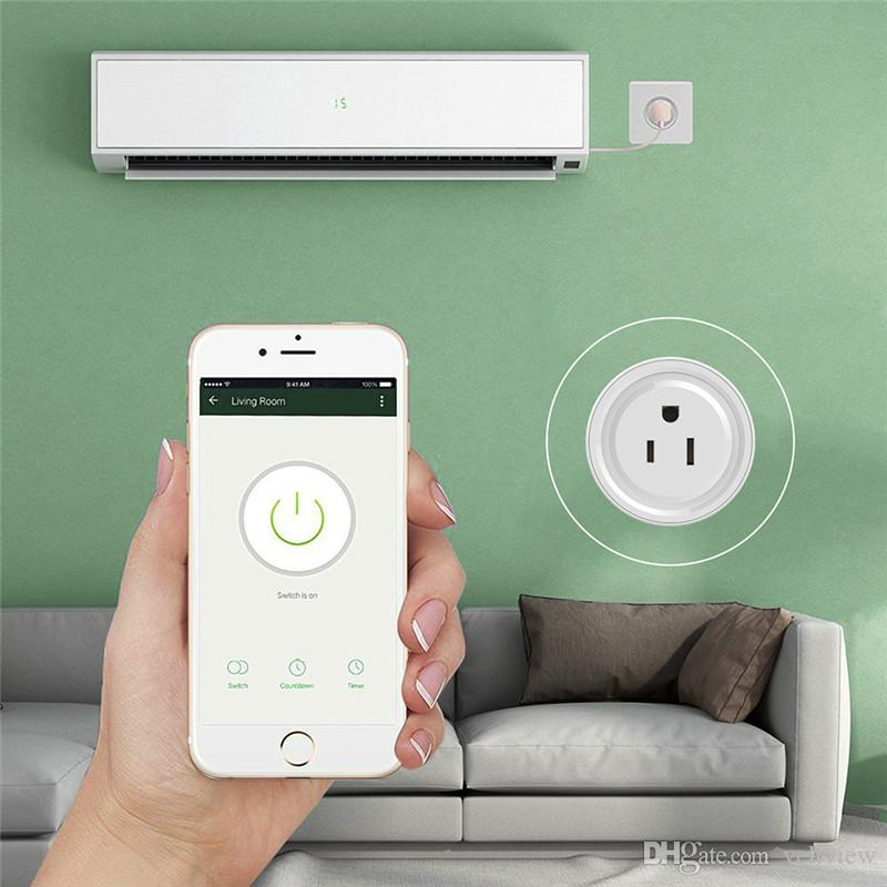 Mini Wifi Socket inteligente Aplicación de teléfono Interruptor de tiempo Control remoto Enchufe de toma de corriente de EE. UU. Para el sistema electrónico de casa inteligente Automatización Alexa Google