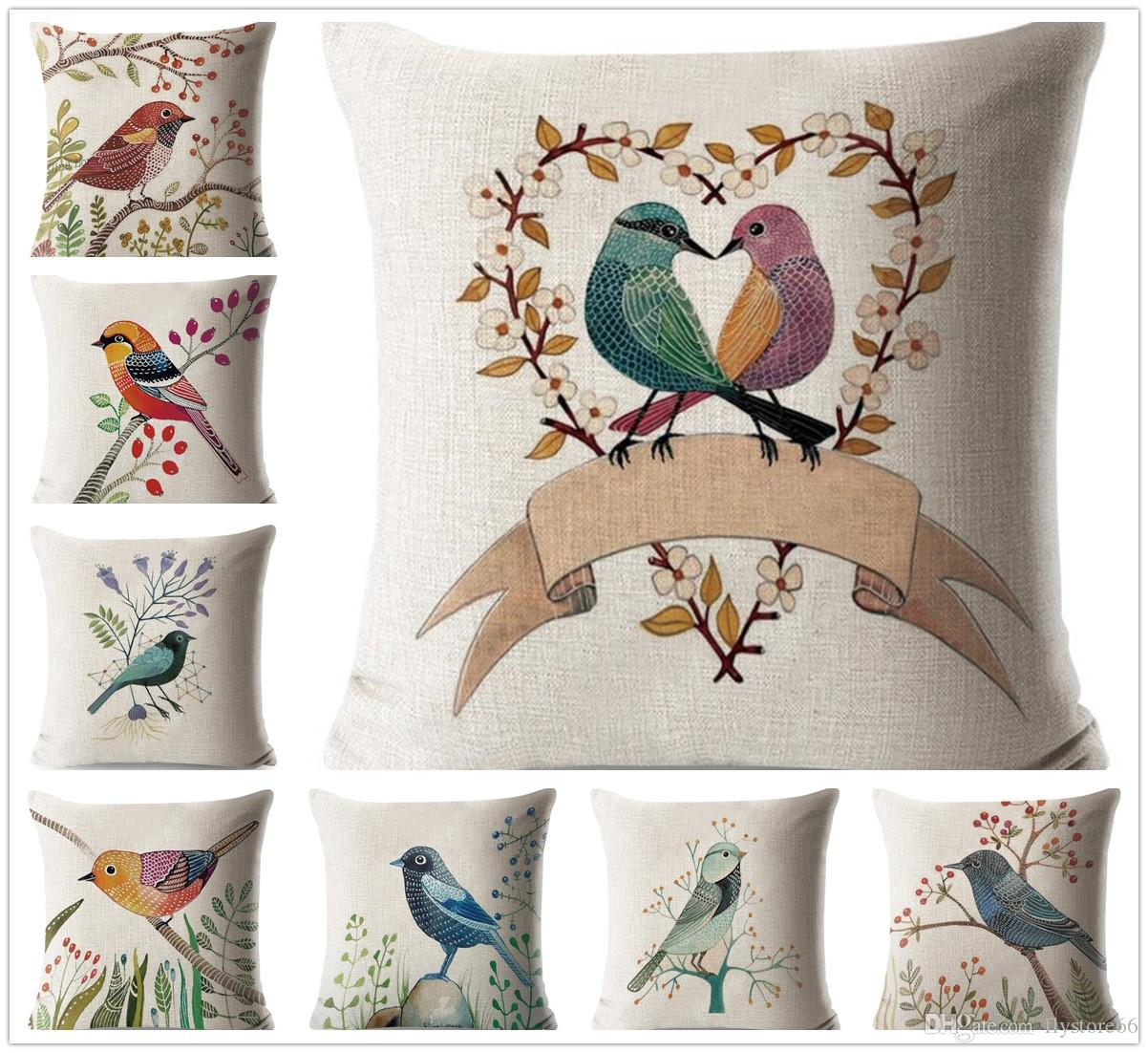 hot fashion cute birds pattern pillow case cushion cover home bed rh dhgate com