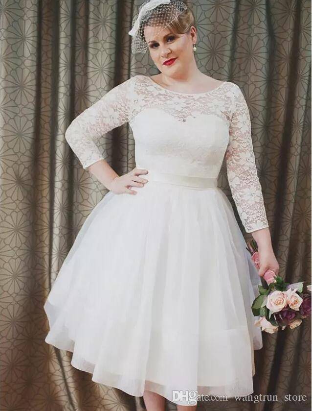 3/4 Long Sleeves Sheer Top Plus Size Wedding Dresses Lace Scoop Neckline A  Line Knee Length Beautiful Bridal Dresses Wedding Gowns 2018