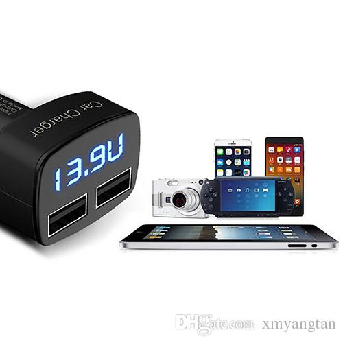 Dual USB Car Charger 4 in 1 Thermometer Digital Display Charging Cigarette Lighter Car Charger For Mobile Phone