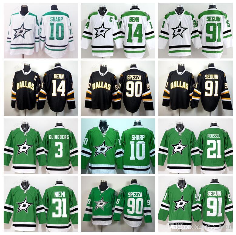 quality design d503f a5df1 Ice Hockey 30 Ben Bishop Jersey Dallas Stars 91 Tyler Seguin 3 John  Klingberg 21 Antoine Roussel 14 Jamie Benn Green White Black