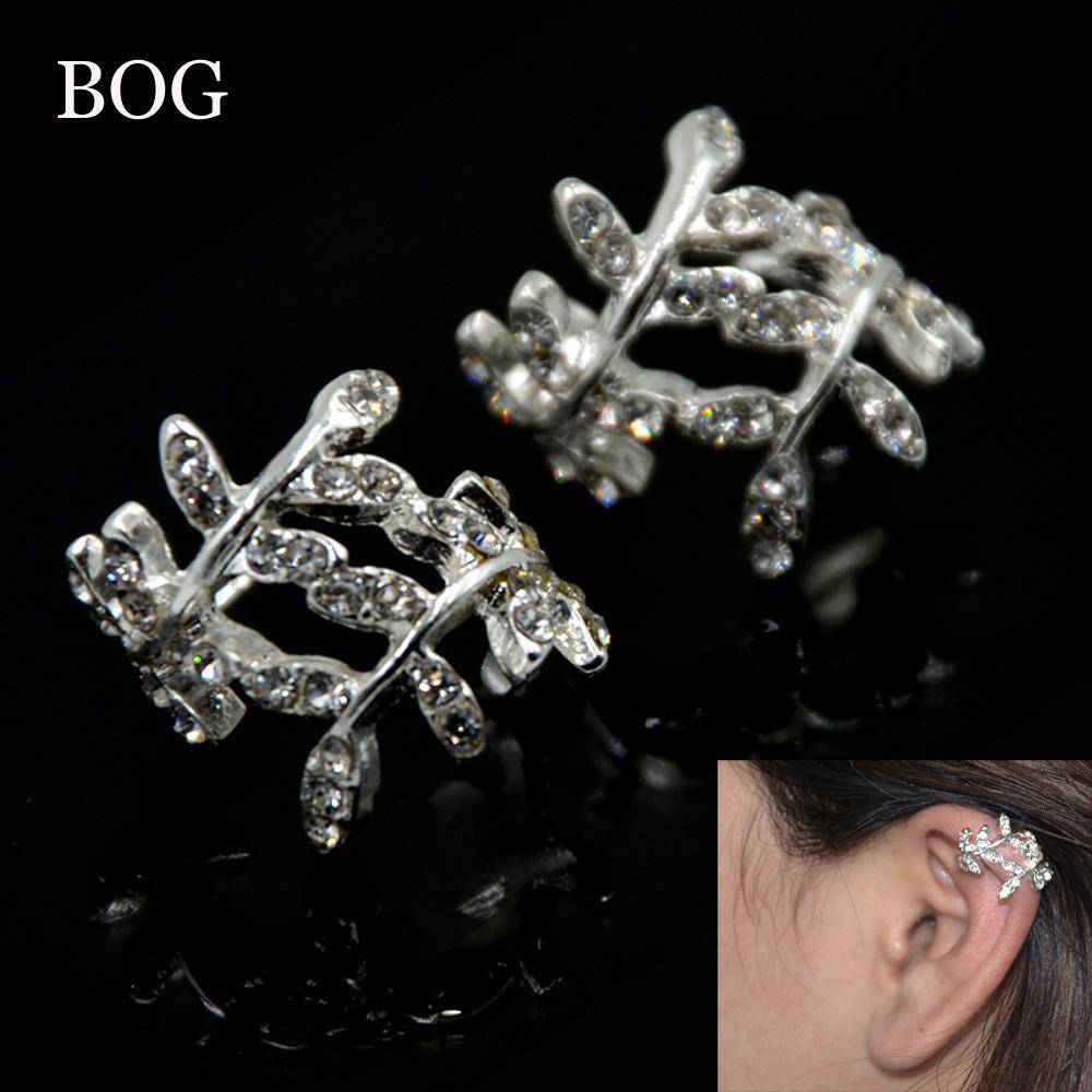 CZ Gem Leaf Ear Cuffs Clip Earrings Without Piercing Cuff Earrings Jewelry Accessories For Women