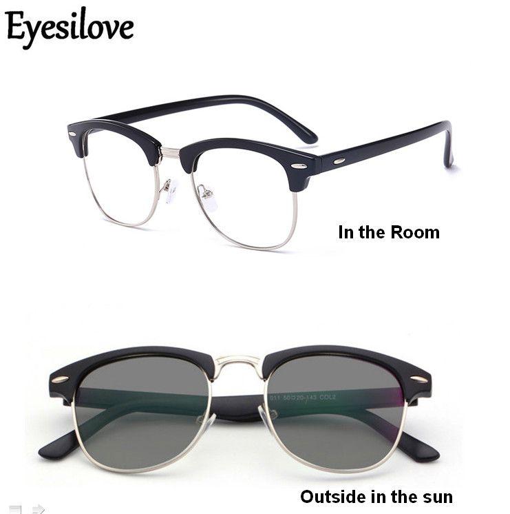 036f19daf Compre Eyesilove Classic Acabou De Óculos Fotocromáticos Miopia Óculos  Nearsighted Com Lentes Sensíveis Lentes De Transição Cinza De Shuidianba,  ...