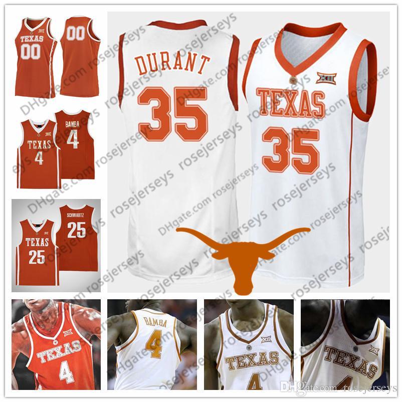 new styles d9f9b b6341 NCAA Texas Longhorns #35 Durant 23 Aldridge 13 Thompson 0 Bradley 2 Tucker  Kevin LaMarcus Tristan Avery PJ Retro Vintage orange white Jersey