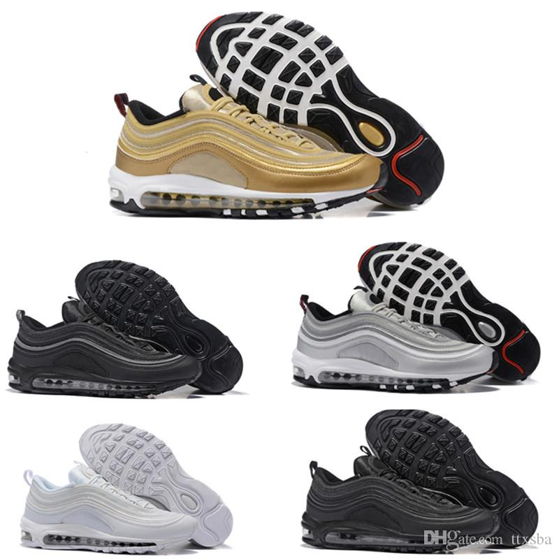 sports shoes bd8bd 23083 Großhandel With Box Nike Air Max 97 Airmax 97 OG QS UNDEFEATED OG UNDFTD  Triple Weiß Balck Grün Silver 97 Bullet Metallic Gold Japan Grau Herren  Damen ...