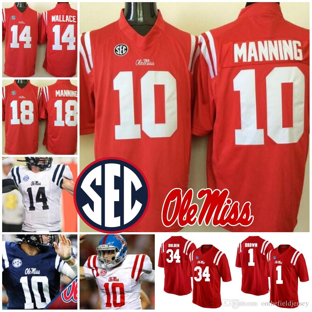 timeless design f6818 24aa7 Ole Miss Rebels #10 Eli Manning 1 Laquon Treadwell 14 Mike Wallace 18 Achie  Manning 34 Brandon Bolden NCAA College Football Jerseys