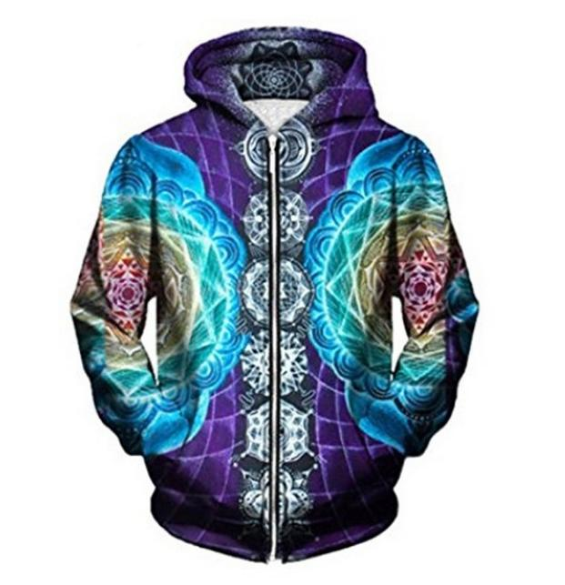 951e819be6b7 2019 Psychedelic Zipper Hoodies 3D Trippy Graphic Print Zip Up Hoodies Men  Women Unisex Hoody Tops From Fashion5dstore